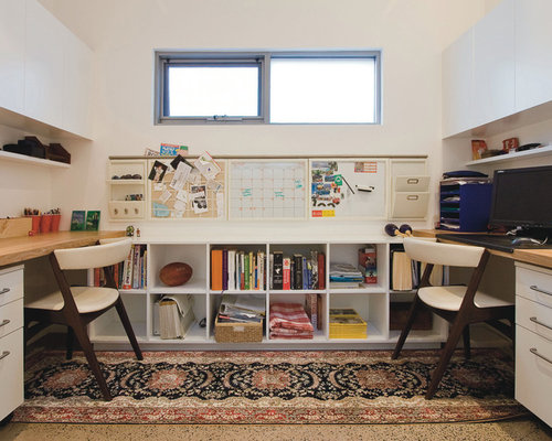 Trendy Built In Desk Home Office Photo Sydney With White Walls