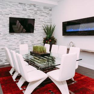 Источник вдохновения для домашнего уюта: большой кабинет в стиле модернизм с серыми стенами, полом из керамической плитки и подвесным камином