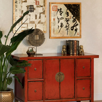 Red Distressed Cabinet - Chinese Ming Style