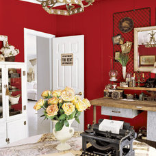 Eclectic Home Office Red Writing