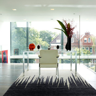 Inspiration for a contemporary freestanding desk dark wood floor study room remodel in London
