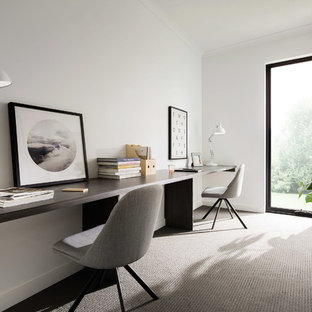 Large Contemporary Home Office In Melbourne With White Walls, Carpet, A  Freestanding Desk And