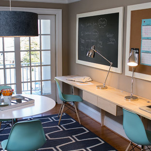 Home office - contemporary home office idea in DC Metro with beige walls