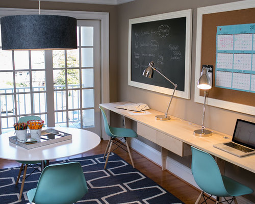 Contemporary Home Office Idea In DC Metro With Beige Walls