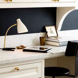 Rejuvenation: Home Office & Small Spaces - Our Zond Brass-Arm Desk Lamp sports a classic mid-century profile and rests on a sturdy base.