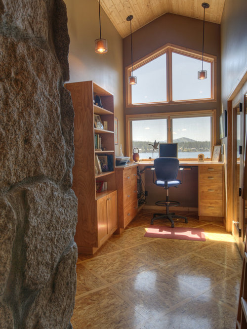 Mid Sized Rustic Built In Desk Home Office Idea In Seattle With Brown Walls