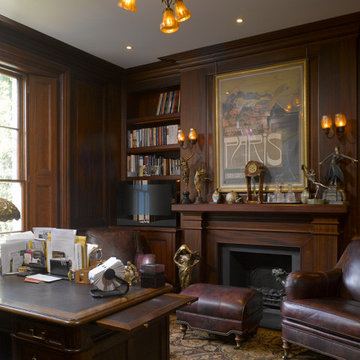 Residential Refurbishment with Timber-panelled Study in Kensington, London, W8