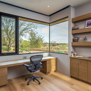 Good Home Office   Contemporary Built In Desk Light Wood Floor And Beige Floor Home  Office