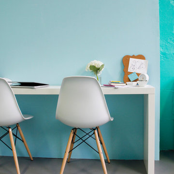 Retro, Midcentury, and Colorful Workspace
