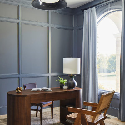 Inspiration for a small transitional freestanding desk travertine floor, beige floor and wall paneling study room remodel in Other with gray walls