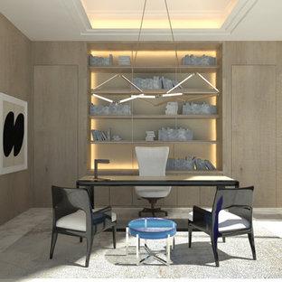 Modelo de despacho moderno, extra grande, sin chimenea, con paredes grises, suelo de mármol, escritorio independiente y suelo blanco