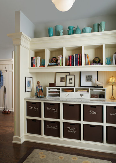 Traditional Home Office & Library by AMW Design Studio