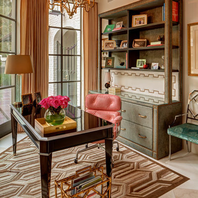 Study room - mid-sized traditional freestanding desk beige floor study room idea in Houston with white walls