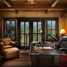 Rustic Home Office by Rocky Mountain Log Homes