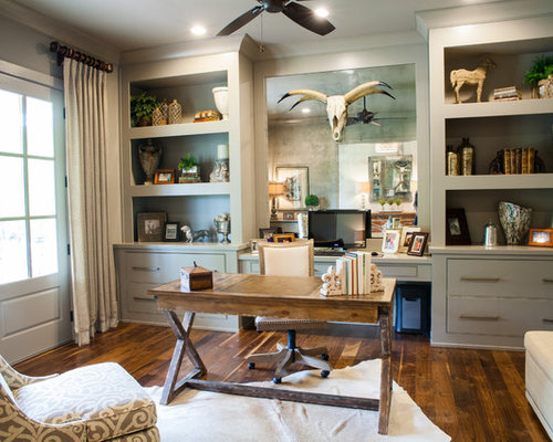 Farmhouse Freestanding Desk Dark Wood Floor Study Room Idea In Atlanta