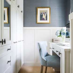 Inspiration for a transitional built-in desk carpeted study room remodel in San Francisco with blue walls