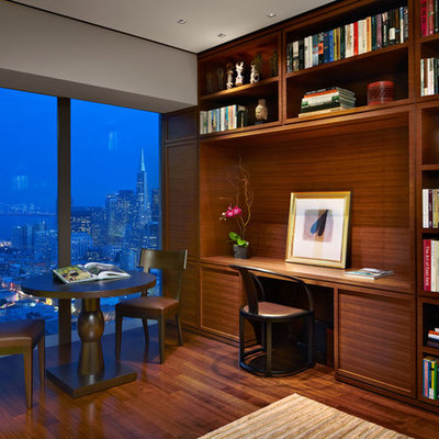 Home office - contemporary built-in desk home office idea in San Francisco