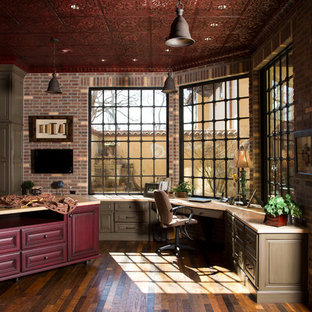 Superbe Inspiration For A Rustic Built In Desk Home Office Remodel In Houston