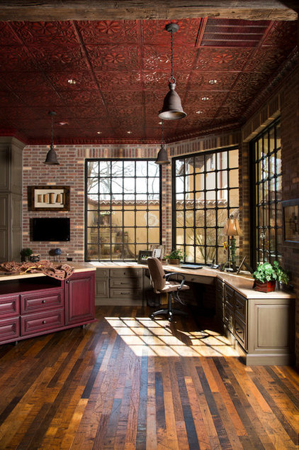 Rustic Home Office by Collaborative Design Group-Architects & Interiors