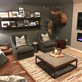 ダラスの中サイズのラスティックスタイルのおしゃれな書斎 (グレーの壁、カーペット敷き、吊り下げ式暖炉、自立型机、ベージュの床) の写真