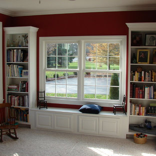 Inspiration for a mid-sized timeless built-in desk carpeted study room remodel in Cleveland with red walls