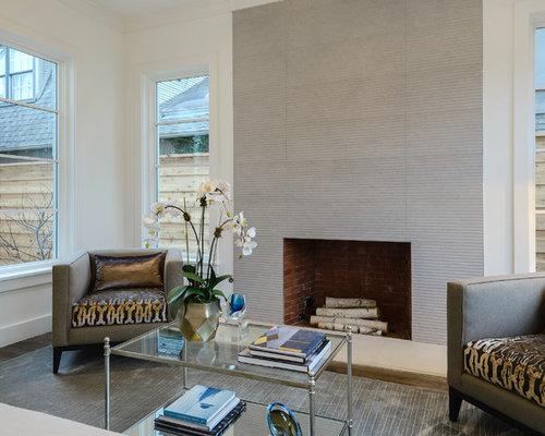 bureau contemporain avec un manteau de chemin e en pierre photos et id es d co de bureaux. Black Bedroom Furniture Sets. Home Design Ideas