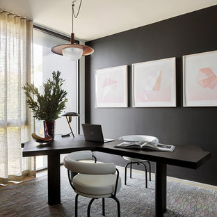 Inspiration For A Contemporary Freestanding Desk Medium Tone Wood Floor And  Brown Floor Home Office Remodel