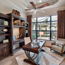 Transitional Home Office by Harbourside Custom Homes