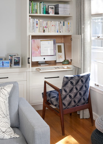 Transitional Home Office & Library by Jessica Risko Smith Interior Design