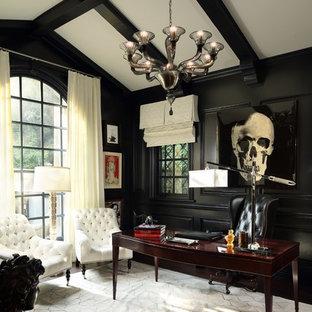 Study room - traditional freestanding desk dark wood floor study room idea in Los Angeles with black walls