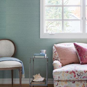 Santa Monica Feminine Home Office with Blue Raffia Wallpaper