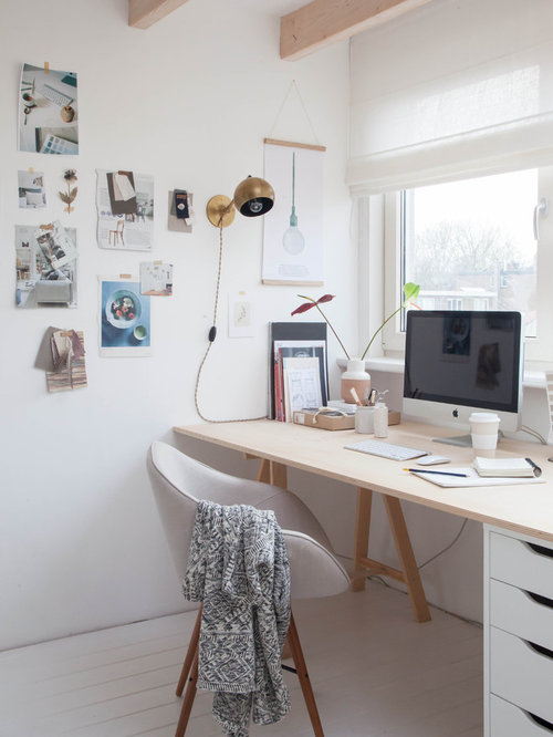 small scandinavian freestanding desk painted wood floor home studio idea in amsterdam with white walls - Small Home Office Design Ideas