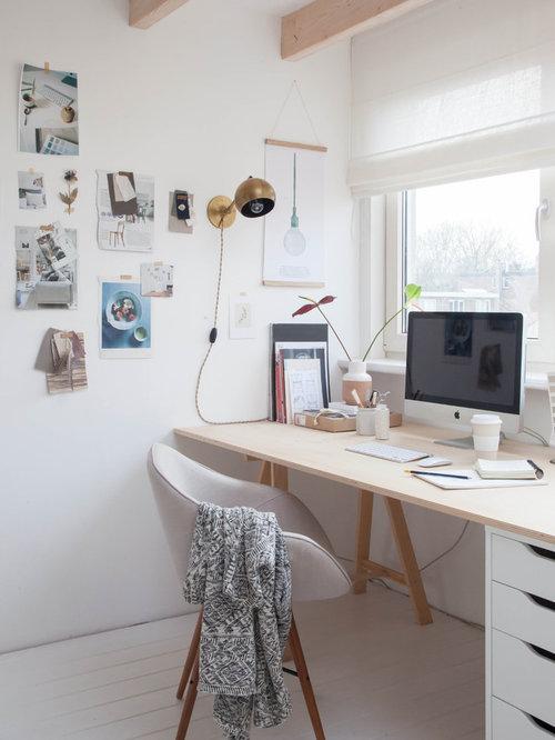 scandinavian home office. small scandinavian freestanding desk painted wood floor home studio idea in amsterdam with white walls office u