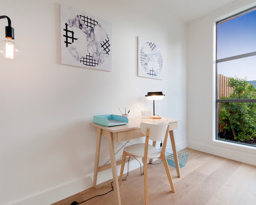 This Is An Example Of A Small Scandinavian Study Room In Melbourne With  White Walls, Part 54
