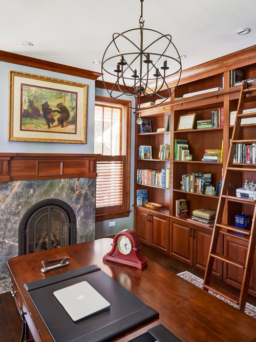 Large Country Freestanding Desk Dark Wood Floor Home Office Library Photo In Chicago With Blue Walls