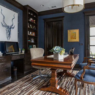 Inspiration for a coastal freestanding desk dark wood floor study room remodel in Dallas with blue walls and no fireplace