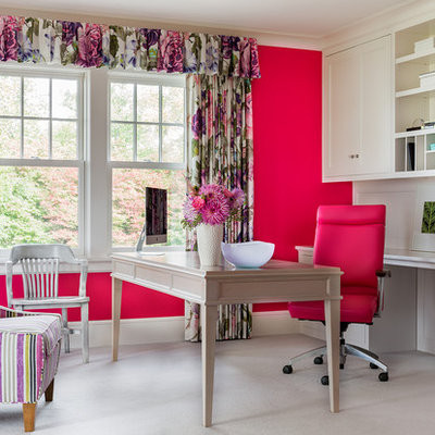 Transitional freestanding desk carpeted and beige floor study room photo in Boston with pink walls