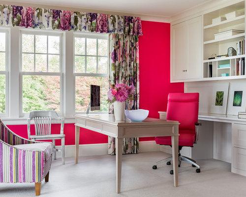 Klassische arbeitszimmer mit rosa wandfarbe ideen design - Wandfarbe arbeitszimmer ...