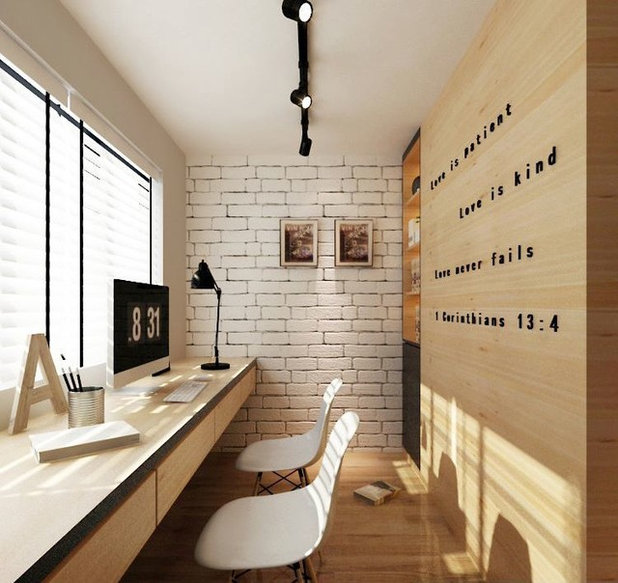 Contemporary Home Office & Library by Butget Studio