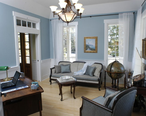 Island Style Freestanding Desk Light Wood Floor Home Office Photo In  Raleigh With Blue Walls Part 74