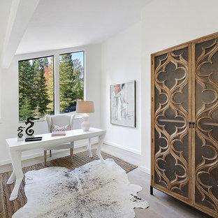 Esempio di un ufficio classico di medie dimensioni con pareti bianche, pavimento in vinile, nessun camino, scrivania autoportante e pavimento grigio