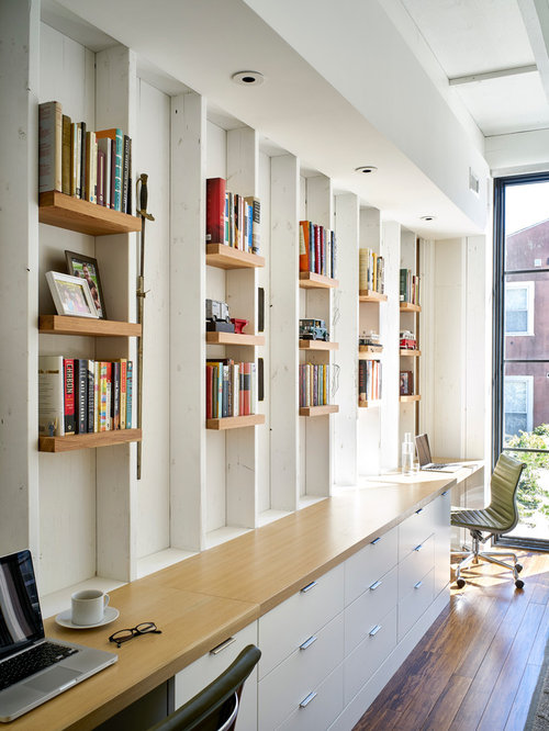 Arbeitszimmer mit bambusparkett ideen design bilder houzz - Arbeitszimmer wandfarbe ...