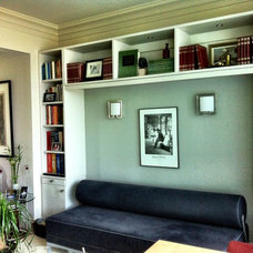 Modern Home Office Shelving Creates an Alcove