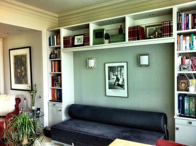 Modern Home Office Shelving Creates an Alcove