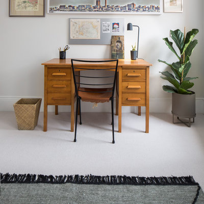 Study room - mid-sized contemporary freestanding desk carpeted and beige floor study room idea in London with gray walls