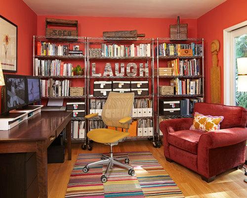 Eklektische arbeitszimmer mit oranger wandfarbe ideen for Arbeitszimmer wandfarbe