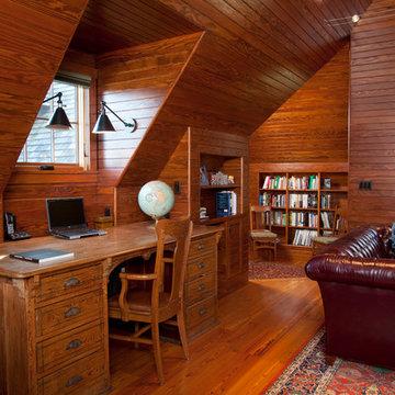 Shingle Style Carriage House - Living Room & Study