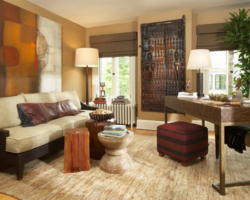Example of a trendy home office design in Minneapolis with beige walls   medium tone woodAfrican Furniture   Houzz. African Living Room Furniture. Home Design Ideas