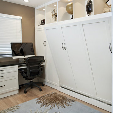 Side Tilt Wall Bed & Custom Cabinetry in Home Office