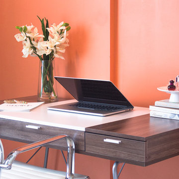 Sleek Home Office with Cymbidium Orchids